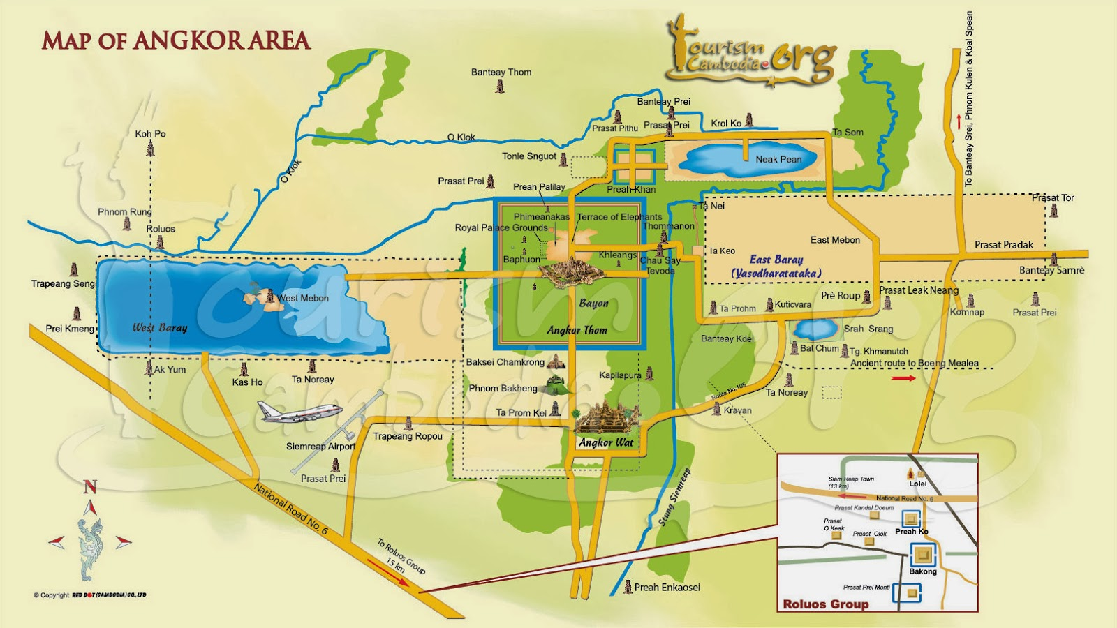 temples d'Angkor - carte