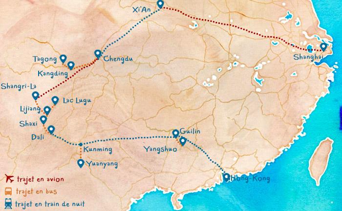 Carte chine itinéraire