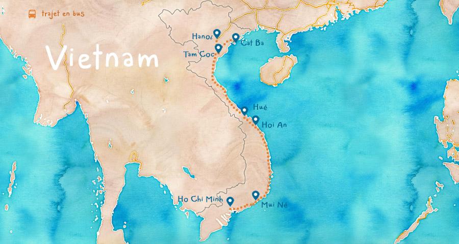 Carte Vietnam Itinéraire