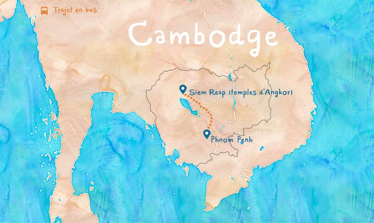 Carte Cambodge itinéraire