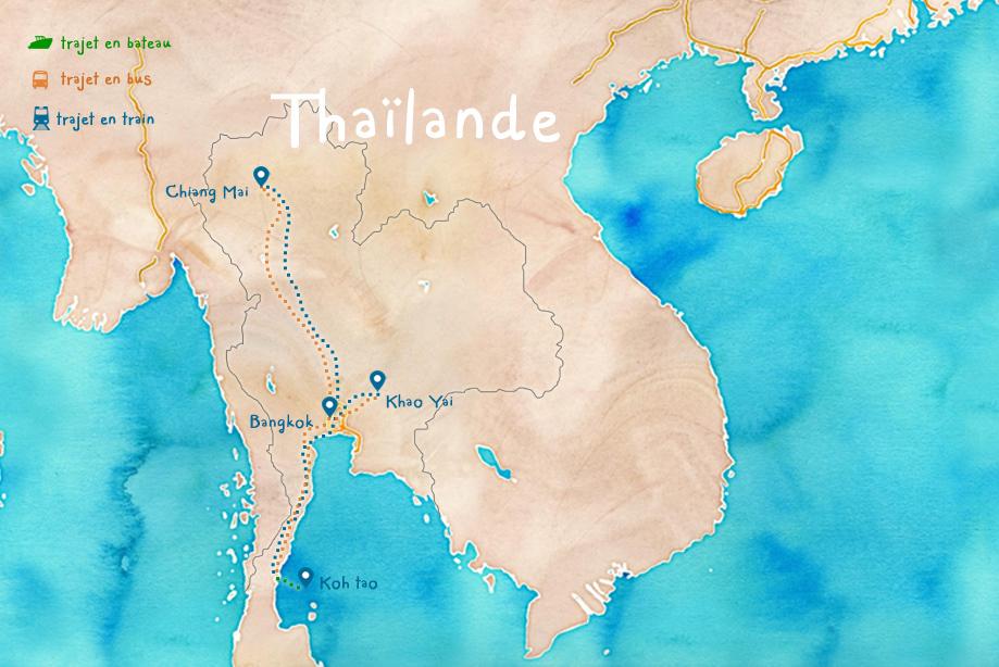 carte Thaïlande Itinéraire
