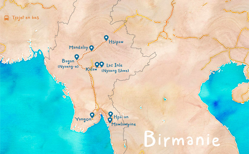 Carte Birmanie Itinéraire